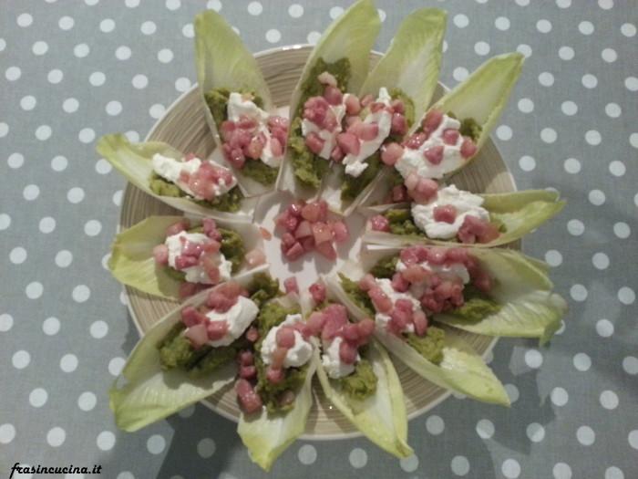 Fiore di indivia crema di piselli ricotta e pancetta
